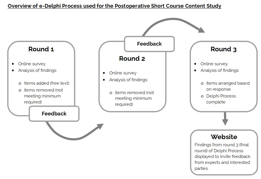 Overview of e-Delphi Process used for the Postoperative Short Course Content Study